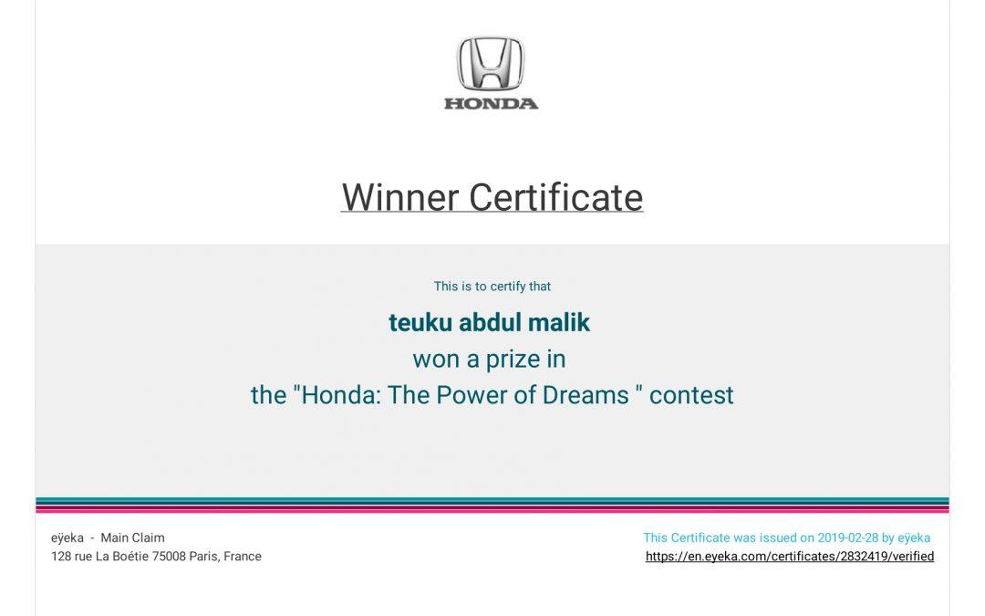 "Winner: The ""Honda: the Power of Dreams"" Contest"